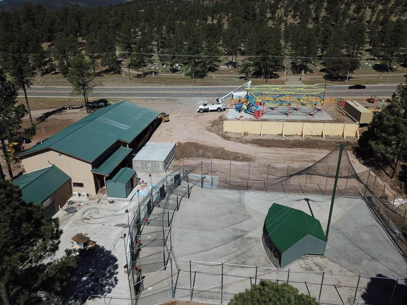 Aerial view of ABC outdoor batting cage