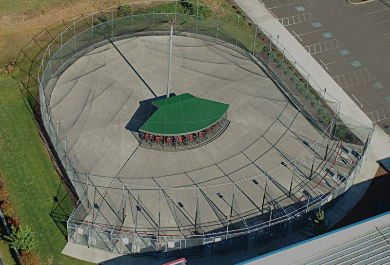 Aerial view of ABC batting cages.