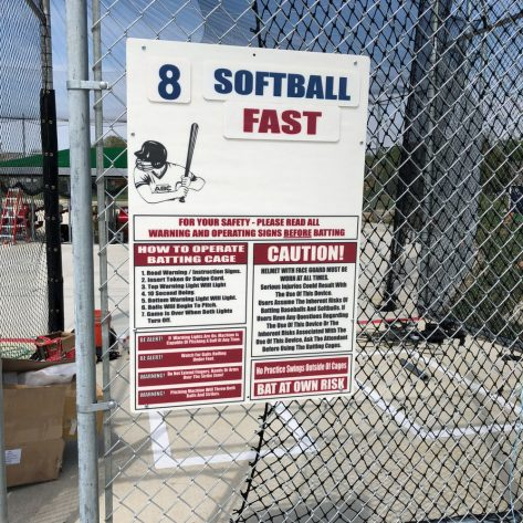 ABC batting cage softball sign
