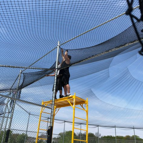 ABC outdoor batting cage fencing installation