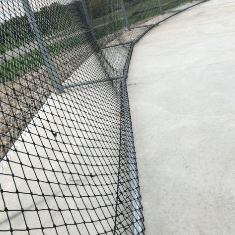 Close up of ABC batting cage fencing