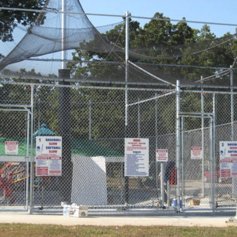 ABC outdoor batting cages with signage
