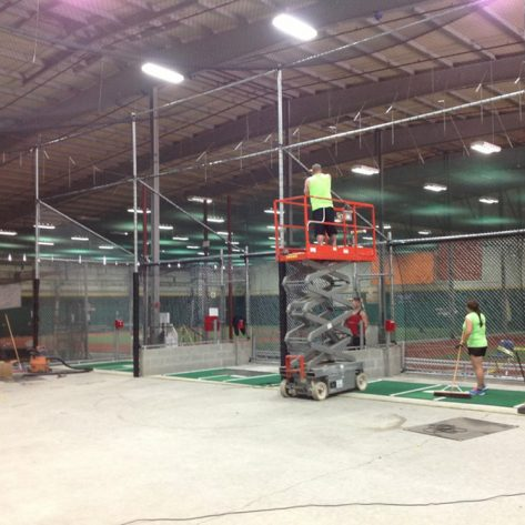 ABC indoor batting cage construction