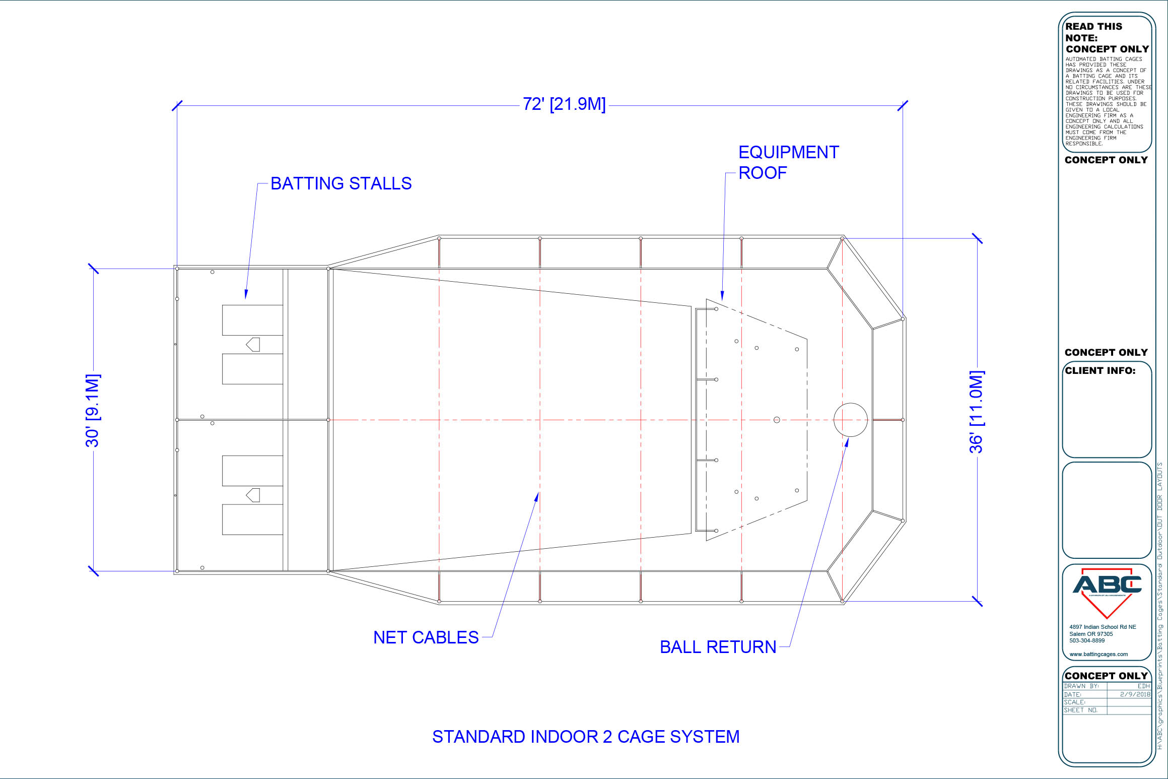 ABC standard indoor 2 cage system blueprint