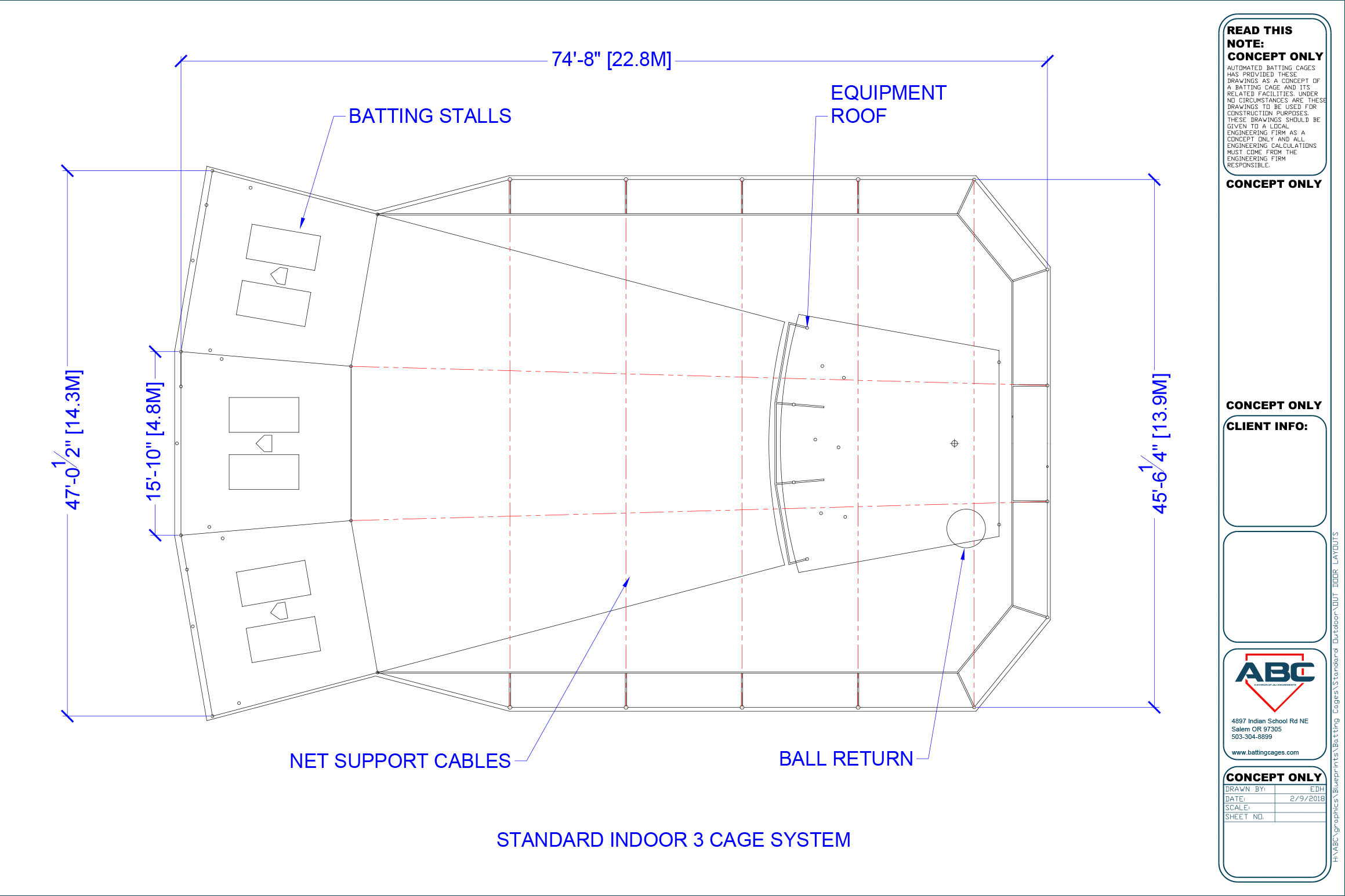 ABC standard indoor 3 cage system blueprint