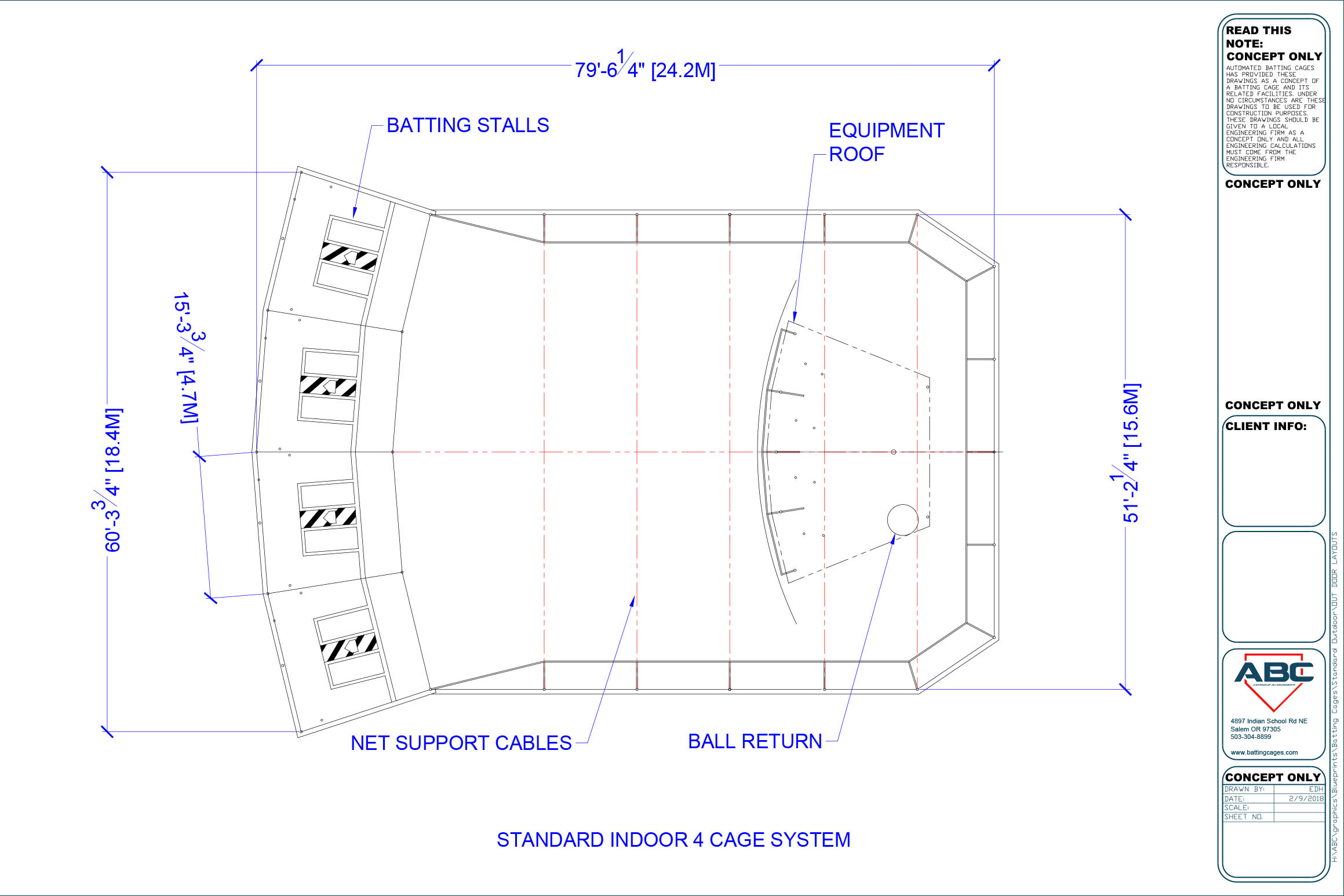 ABC standard indoor 4 cage system blueprint