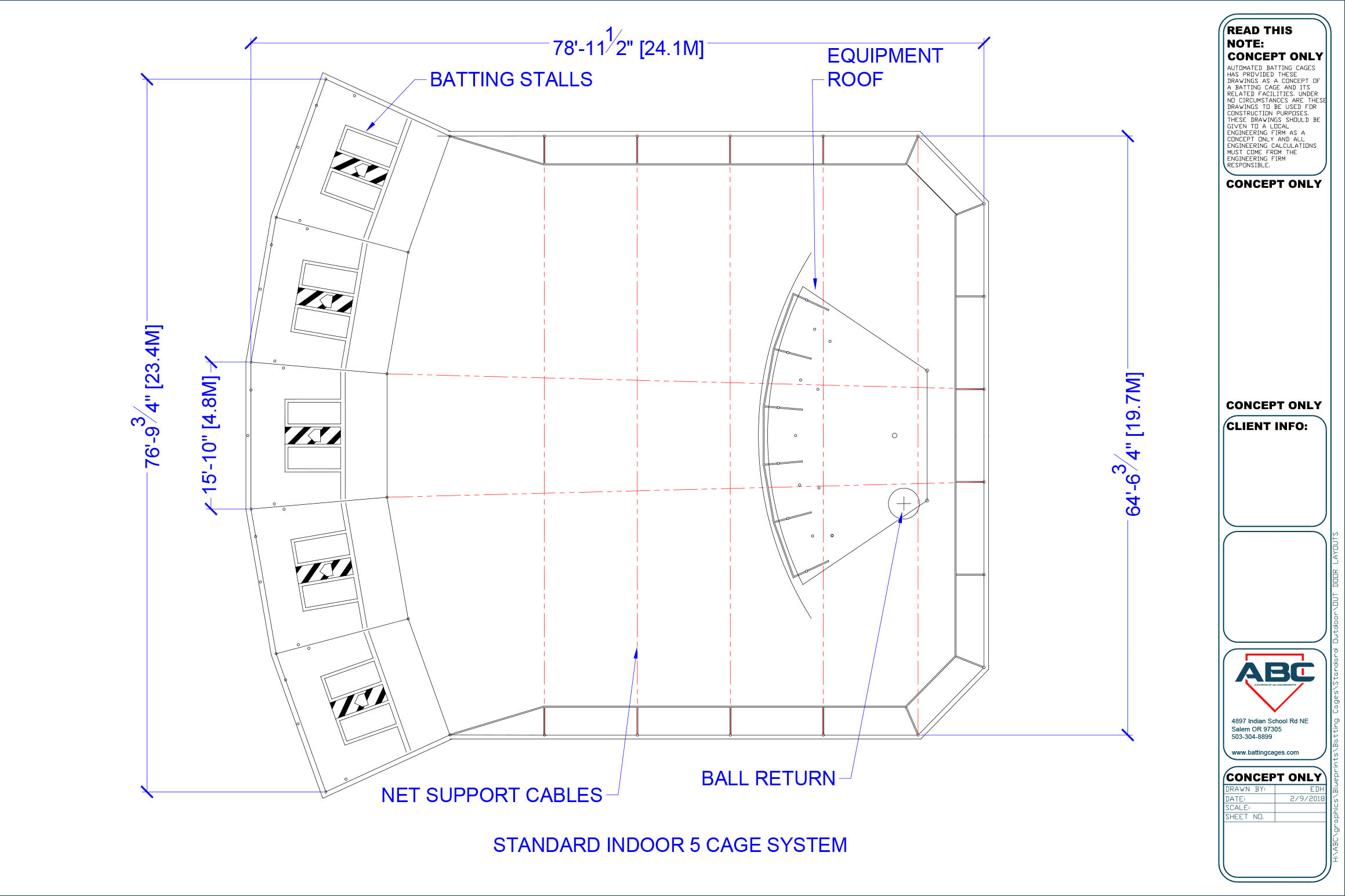 ABC standard indoor 5 cage system blueprint