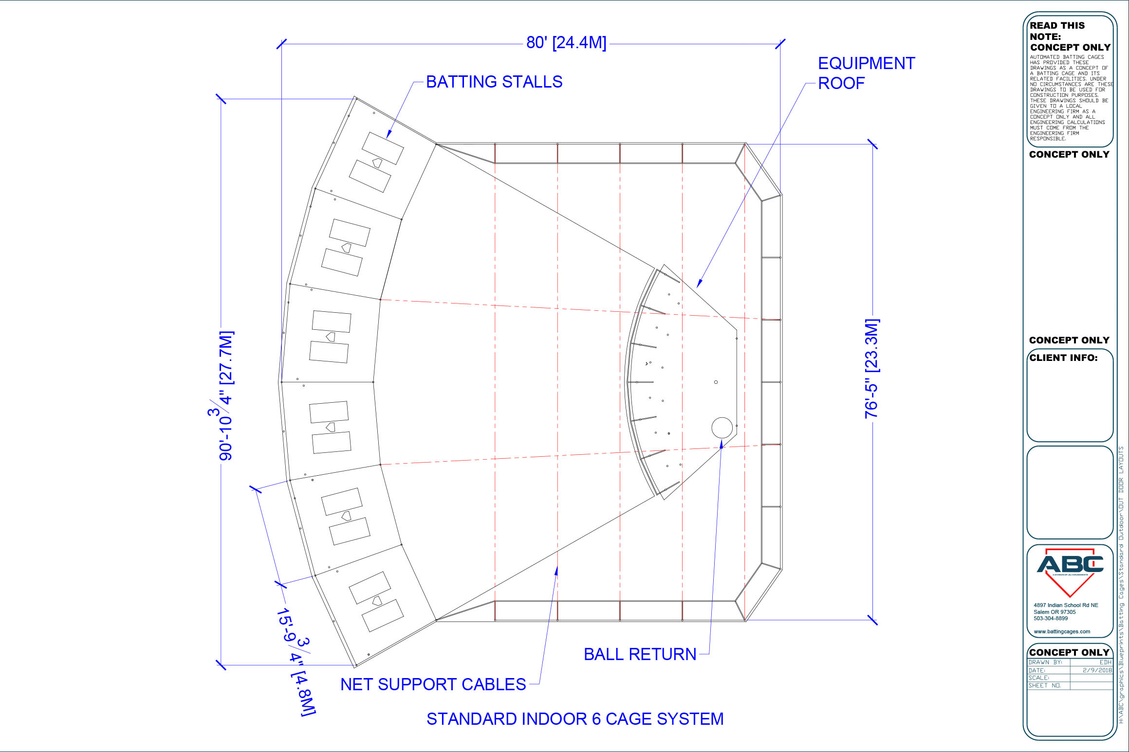 ABC standard indoor 6 cage system blueprint