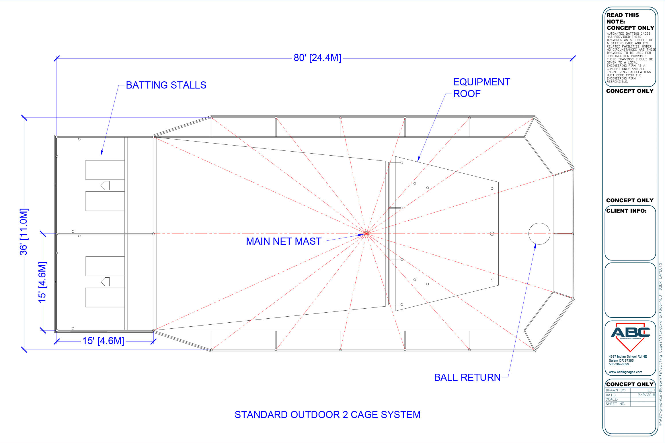 Batting cage blueprints, ABC standard outdoor 2 cage system